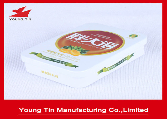 Metal Rectangle Empty Candy Gift Tin Cans With CMYK Printing For Sweets Packaging