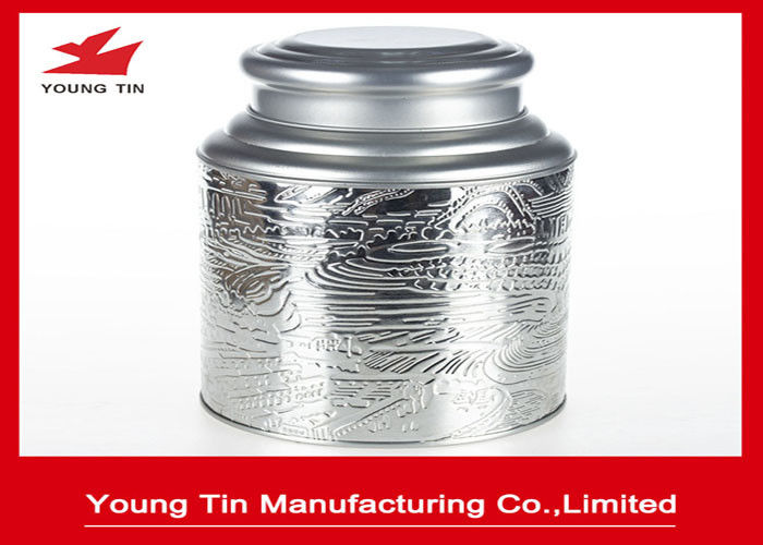 Large Traditional Tea Container , Embossed Metal Tin Box Tinplate With Double Lids