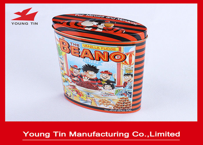 Metal Candy Packaging Oval Tin Box , Tin Containers With Custom Logo Printing and Embossing